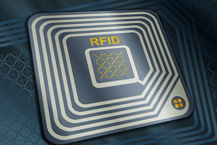 Render of an RFID tag, Radio Frequency Identification chip